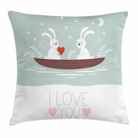 I Love You Throw Pillow Cushion Cover, Rabbit Couple Sailing on Boat in the Lake Bunny Partners Kids Cartoon, Decorative Square Accent Pillow Case, 16 X 16 Inches, Baby Blue Umber White, by Ambesonne (Kid Couple)