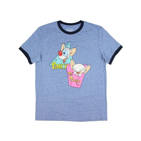 Animaniacs Pinky And The Brain Ringer T-Shirt Classic Cartoon Slim Fit (Men's)