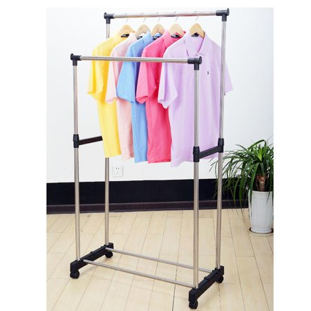 Ktaxon Double Heavy Duty Rail Portable Clothes Hanger Rolling Garment Rack