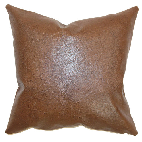 The Pillow Collection Airlie Faux Leather Throw Pillow Cover