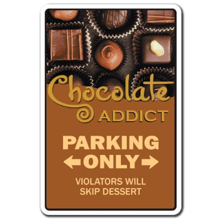 CHOCOLATE ADDICT Decal chocoholic candy lover bars maker store kisses M&M | Indoor/Outdoor | 7