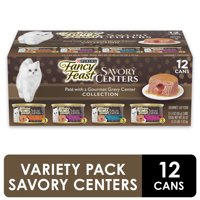 (12 Pack) Fancy Feast Pate Wet Cat Food Variety Pack, Savory Centers Pate With a Gravy Center, 3 oz. Pull-Top Cans