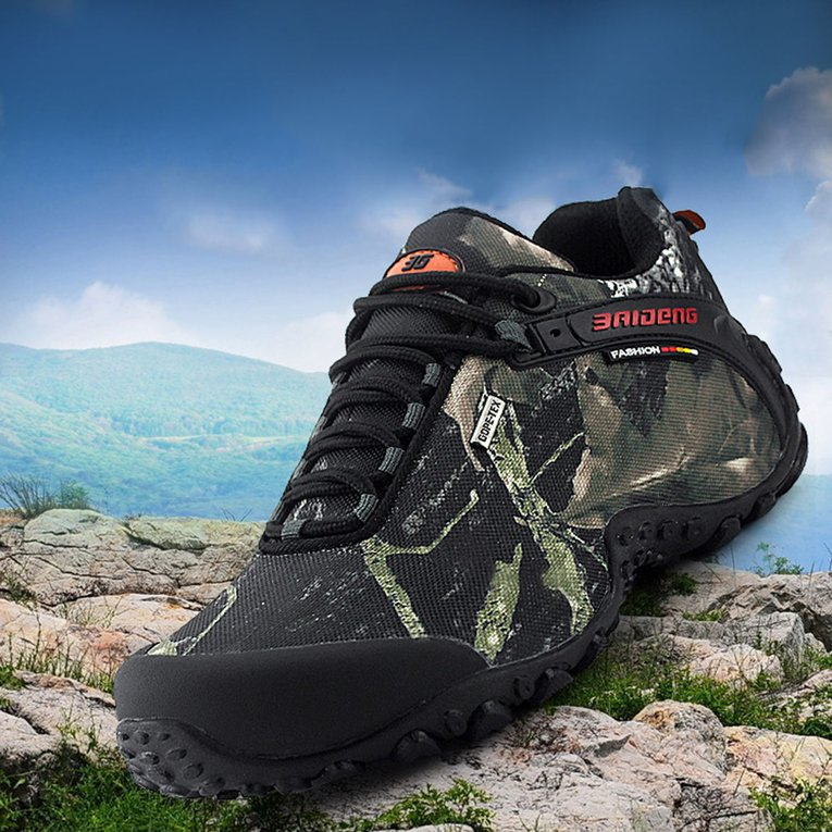 Gray Sport Shoes Outdoor Waterproof Lace-Up Hiking Boots Sports Men'S Anti-Slip Climbing Shoes