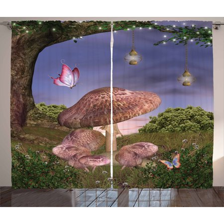 Fantasy Curtains 2 Panels Set, Enchanted Forest with Butterflies and Mushroom Magic Fairy Tale Style Illustration, Window Drapes for Living Room Bedroom, 108W X 90L Inches, Multicolor, by (Enchanted Fairy Forest)