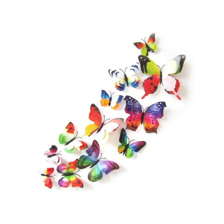 VICOODA 12PCs PVC Wall Stickers Magnet Double Wing Butterflies Decorative Wall Art for Refrigerator, Wedding Party, Office, Baby's Bedroom TV Background Living Room Wall Stickers Decor