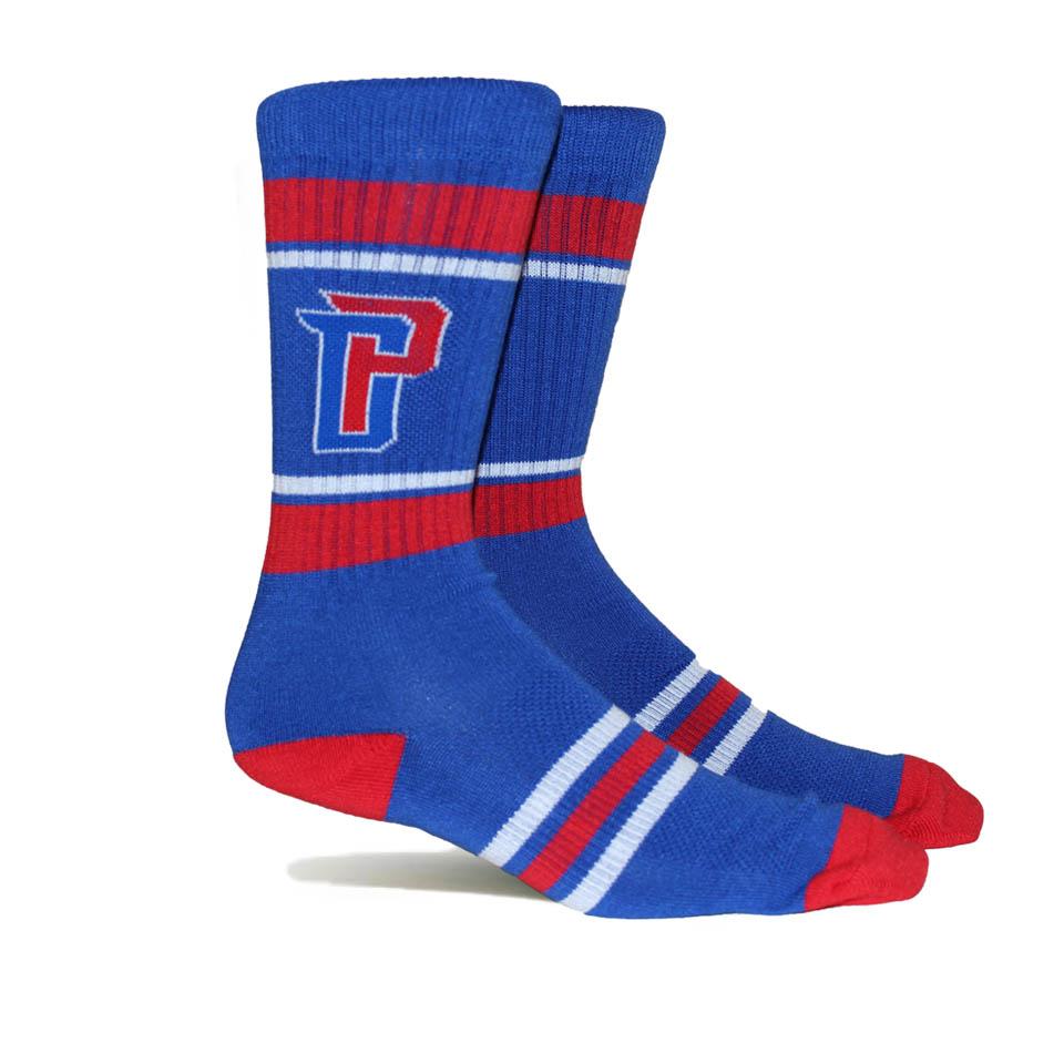 Detroit Pistons Stripe Crew Socks - Blue - L