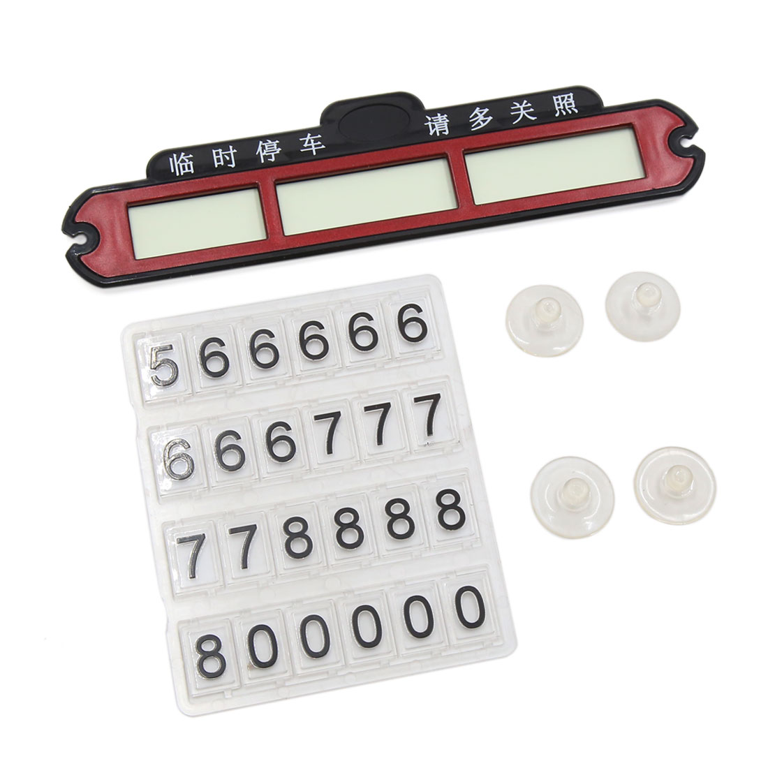 Red Car Luminous Temporary Parking Windshield Phone Number Card Plate