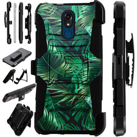 Compatible LG K40 | LG K12 Plus Case Armor Hybrid Phone Cover LuxGuard Holster (Black Tropical Leaf)