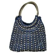 Blue Rolled Top Handle Glitter Accents Shoulder Strap Bag Purse