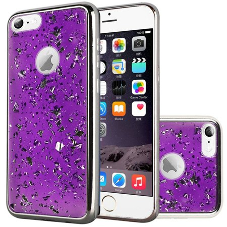 low priced fb9d4 84294 Insten Frozen Glitter Dual Layer Hybrid Hard Snap-in Case Cover For Apple  iPhone 6 Plus/6s Plus - Dark Purple/Silver - Walmart.com