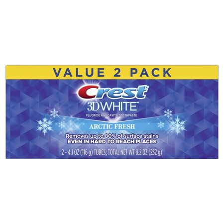 Crest 3D White, Whitening Toothpaste Arctic Fresh, 4.1 oz, Pack of 2