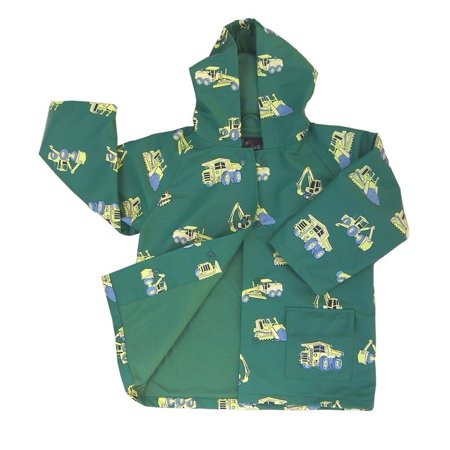 Green Boys Raincoat (Little Boys Green Construction Rain Coat)