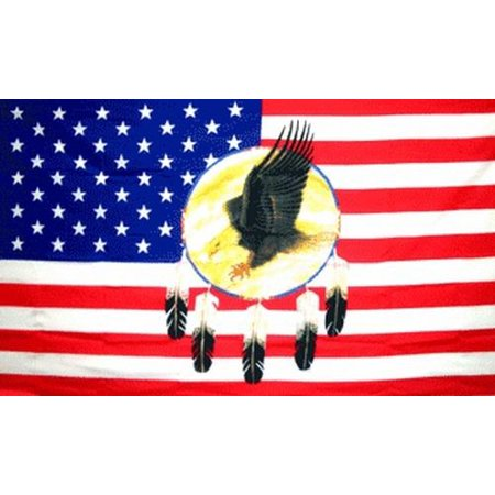 ecc3e22becc Dreamcatcher Eagle US Flag 3x5 USA United States America Native American  Indian - Walmart.com