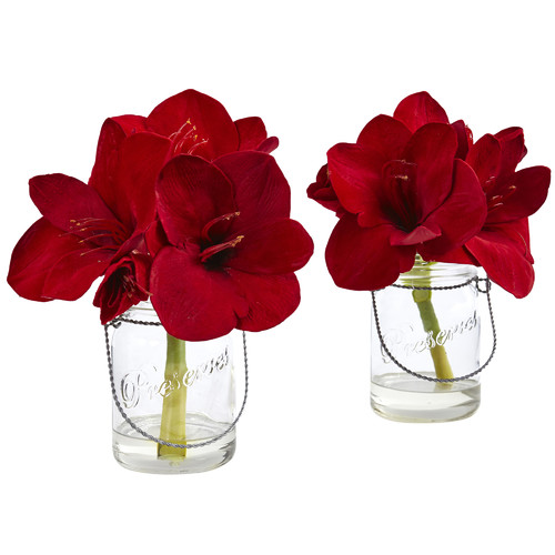 Nearly Natural Amaryllis Flowers in Decorative Vase (Set of 2)