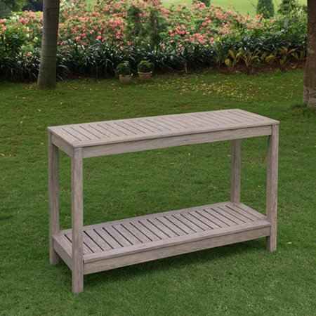 Patio Console Table - Stonne Patio Console Table, Weathered Grey