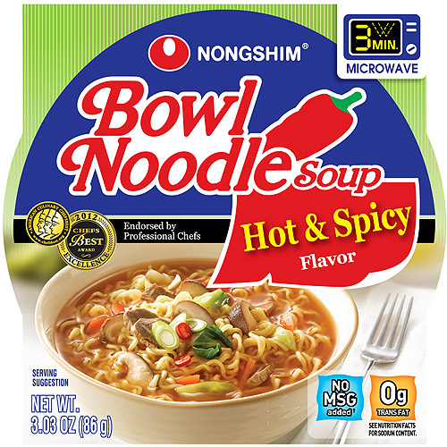 Nongshim Hot & Spicy Flavor Bowl Noodle Soup, 3.03 oz, 12 count
