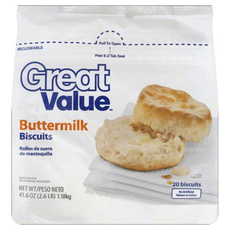 Great Value Frozen Buttermilk Biscuits, 41.6 oz, 20 Count