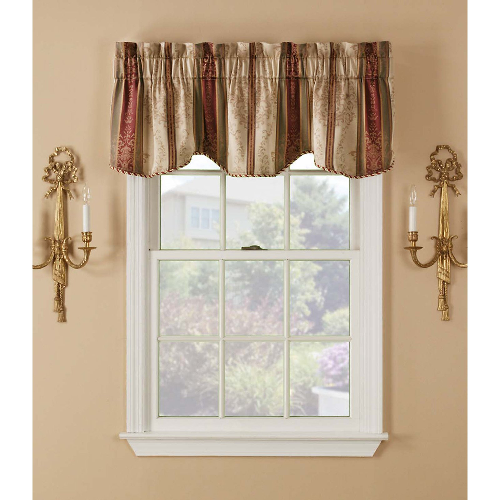 Window Accents Tuscan Stripe Scroll Jacquards Rod Pocket Valance Pair