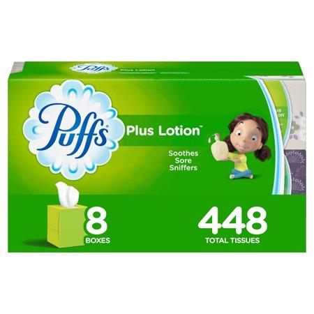 Puffs Plus Lotion Facial Tissues, 8 Cube Boxes, 56 Tissues per Cube