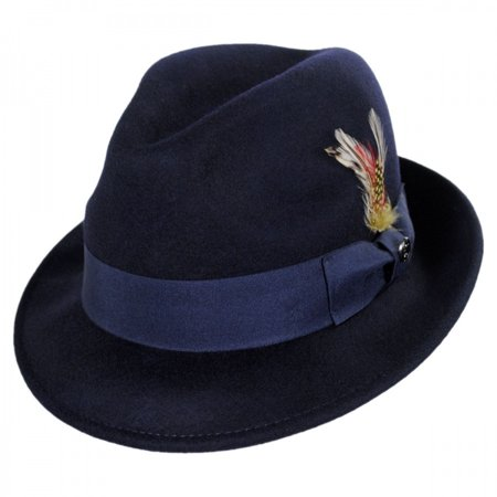 Jaxon Hats - Blues Crushable Wool Felt Trilby Fedora Hat - S - Navy Blue -  Walmart.com 28e9520d9cb