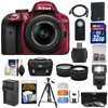 Nikon D3300 Digital SLR Camera & 18-55mm G VR DX II AF-S Zoom Lens (Red) with 32GB Card + Battery & Charger + Case + Tripod + Flash + Tele/Wide Lens Kit Nikon D3300 Digital SLR Camera<br> + 18-55mm VR II Lens Outfit <br>Creating beautiful photos and videos has never been more fun. Life is full of surprising, joyful moments -- moments worth remembering. The <b>Nikon D3300 Digital SLR</b> makes it fun and easy to preserve those moments in the lifelike beauty they deserve: stunning <b>24.2-megapixel photos</b> and <b>1080p Full HD videos</b> with tack-sharp details, vibrant colors and softly blurred backgrounds. Like sharing photos? The D3300 photos can appear instantly on your compatible smartphone or tablet for easy sharing with the <b>optional WU-1a Wireless Adapter</b>! Whether youre creating high-resolution panoramas, adding artistic special effects or recording HD video with sound, the D3300 will bring you endless joy, excitement and memories -- just like the special moments of your life. This camera outfit includes the versatile <b>AF-S DX NIKKOR 18-55mm f/3.5-5.6G VR II</b> lens which delivers the sharpest, most color-rich results imaginable. Optimized for Nikons new high-resolution DX-format image sensors, it borrows the ultra-compact retractable lens barrel design from the Nikon 1 system. Nikons remarkable <b>Vibration Reduction</b> technology provides 4 stops of blur-free handheld shooting -- enjoy crisp, clear images even if your hands are a bit unsteady and shoot at slower shutter speeds in low-light situations. <br><br><b>Key Features:</b><br> <b>Create stunning lifelike photos and HD videos</b><br> Taking snapshots with a smartphone is convenient, but are those photos good enough for preserving precious moments? The D3300s new EXPEED 4 lets you shoot at high speeds up to 5 frames per second, shoot in low light with high ISO sensitivity, create high-resolution panoramas and much more. Your 24.2-megapixel photos and 1080p Full HD videos will be so impressive, so rich with detail+ and color -- so lifelike -- theyll bring back the feelings of the moments they capture. <b>Compact, lightweight and reliable</b><br> The D3300 is a small and light HD-SLR camera even when paired with the included AF-S DX NIKKOR 18-55mm f/3.5-5.6G VR II lens, which has a new ultra-compact design. The combination is designed to fit comfortably in your hands, and all of the D3300s buttons and dials are positioned for convenient, efficient operation. Youll take the D3300 everywhere you go, which means youll bring home all the beautiful memories of your activities. <b>Focus on the details</b><br> The D3300s 11-point Autofocus System locks onto your subjects as soon as they enter the frame and stays with them until you catch the shot you want. Even fast-moving subjects are captured with tack-sharp precision. And when youre recording Full HD video, Full-time Autofocus keeps the focus where you want it. <b>Spectacular panoramas, Guide Mode and fun Special Effects</b><br> Using the D3300 is super easy -- and a blast. Cant get the whole scene into your frame? Turn on Easy Panorama Mode and pan across the scene -- the D3300 will capture the entire view as a high-resolution panoramic image. Its that easy! Guide Mode gives step-by-step help when you need it (its like having an expert at your side), and you can easily get creative with built-in Image Effects, filters and more. <b>Enjoy the view</b><br> Like all D-SLR cameras, the D3300 has an optical viewfinder that gives you a true view through the lens of the camera -- and what a view it is! If youve been using a point-and-shoot camera, youll find it easier to frame your shots, follow moving subjects, zoom in on bright sunny days and more. <b>Catch every moment</b><br> When the action starts, hold down the shutter button to capture every movement, expression and feeling at 5 frames per second -- thats 5 beautiful photos for every second of action! You wont believe some ot 5 frames per second -- thats 5 beautiful photos for every second of action! You wont believe some of the moments youll catch thanks to Nikons new high-speed EXPEED 4 processing engine.