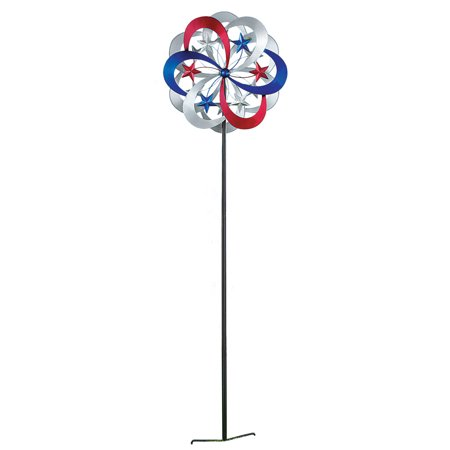 - Patriotic Double Kinetic Wind Spinner Garden Stake Decoration, 54