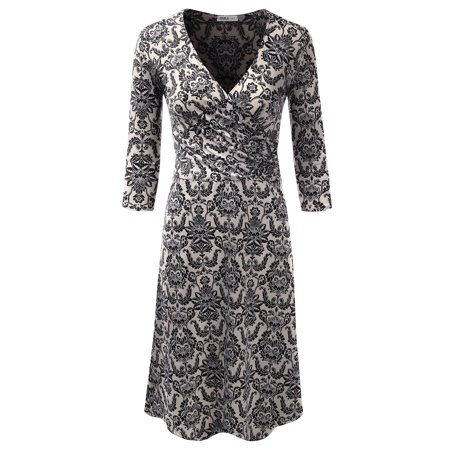 2ca8e6a6e933 Doublju - Doublju Women s 3 4 Sleeve Deep V Neck Classy Solid   Printed  Wrap Dress BLACKPRINT 1XL Plus Size - Walmart.com