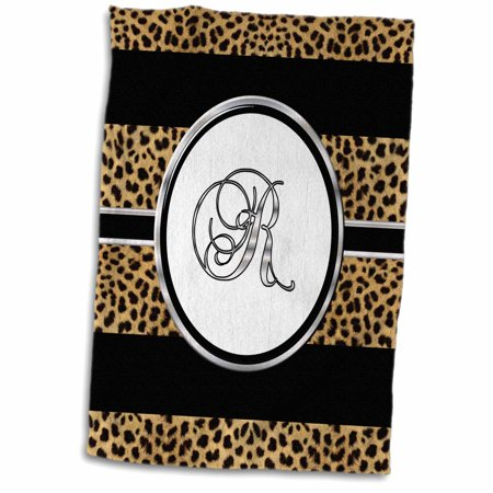 Cheetah Bath - 3dRose Elegant Cheetah Animal Print Monogram Letter R - Towel, 15 by 22-inch