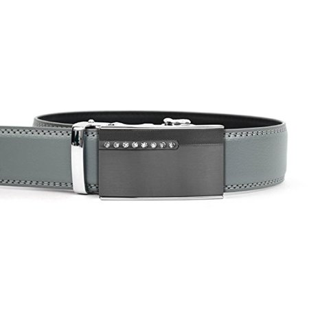 Men's Leather Ratchet Belt with Jeweled Gunmetal Automatic Buckle (MGLBB37) (Jeweled Belt)