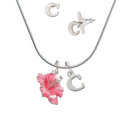 Delight Jewelry Hot Pink Hibiscus Flower C Initial Charm