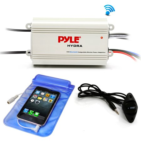Pyle Auto 4-Channel Bridgeable Marine Amplifier - 200 Watt RMS 4 OHM Full Range Stereo with Wireless BT and Powerful Prime Speaker - High Crossover HD Music Audio Multi Channel System