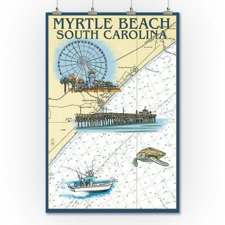 Myrtle Beach South Carolina Nautical Chart Lantern Press Poster 36x54 Giclee Gallery Print