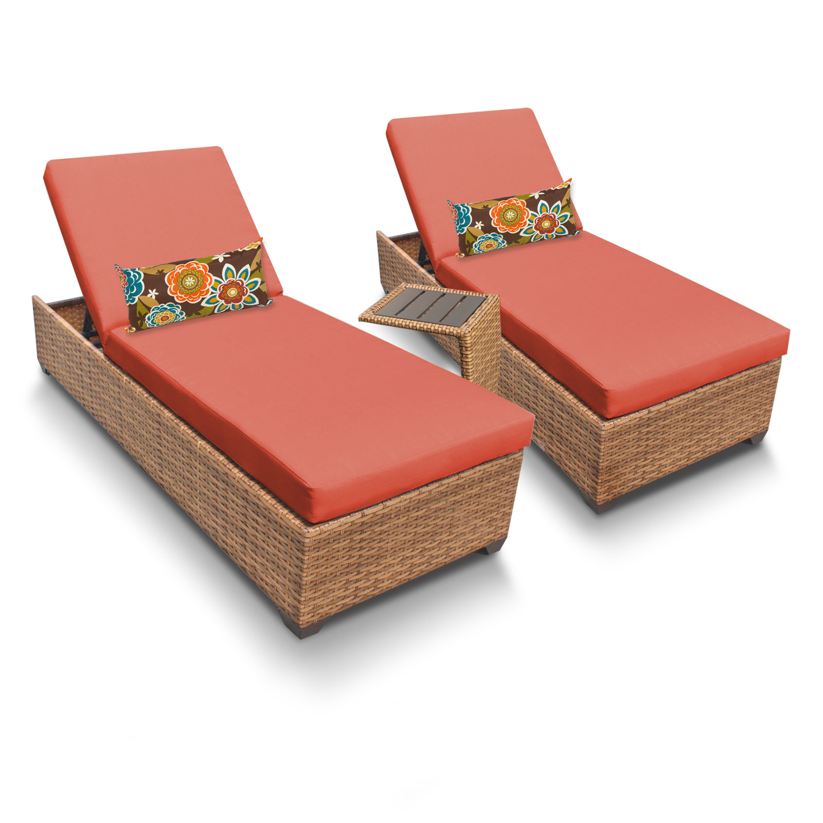 Tuscan Chaise Set of 2 Outdoor Wicker Patio Furniture With Side Table