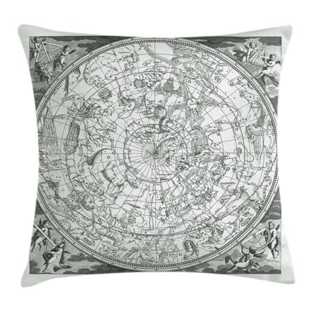 Constellation Throw Pillow Cushion Cover  Detailed Vintage Boreal Hemisphere Astronomy Ancient Antique Figures  Decorative Square Accent Pillow Case  20 X 20 Inches  Grey Black White  By Ambesonne