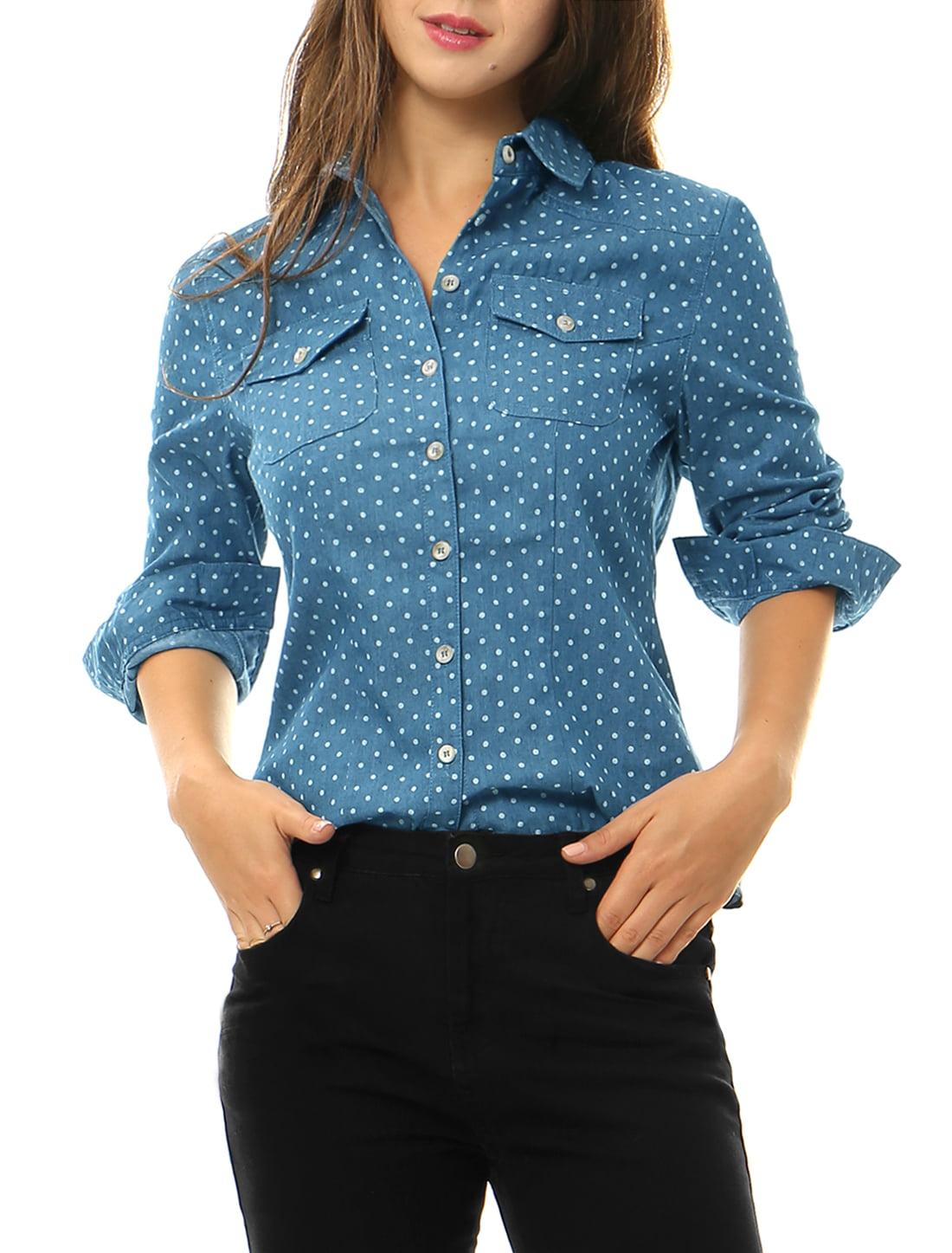 Unique Bargains Women's Chest Pockets Point Collar Office Dots Denim Shirt