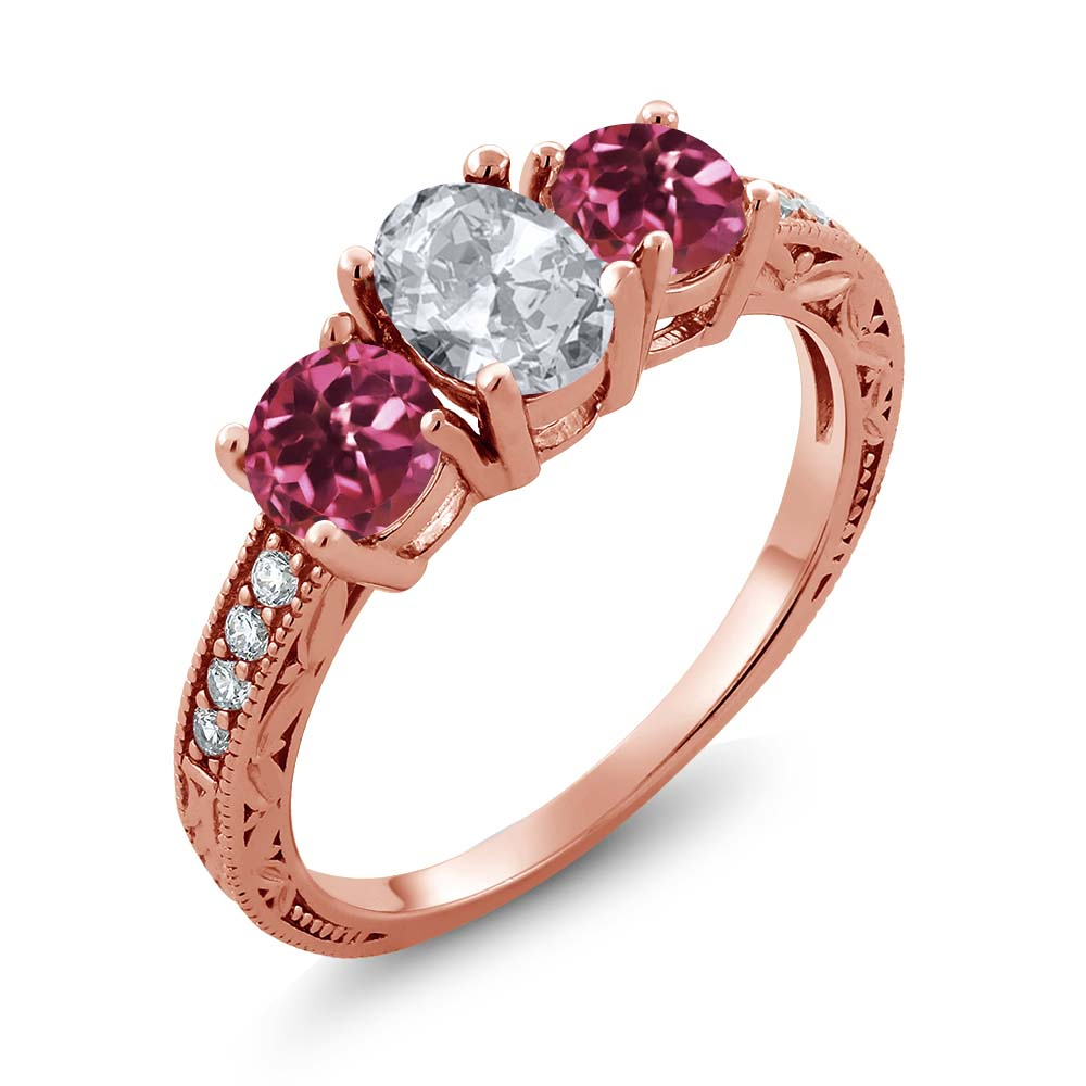 2.07 Ct Oval White Topaz Pink Tourmaline AAA 18K Rose Gold Plated Silver Ring by