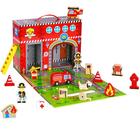 Pidoko Kids Fire Station Toy - 19 Pcs Play Set - Magnetic Portable Box - Easy Storage - Perfect Toy Gift Set for Boys and Girls](Kid Stores Online)