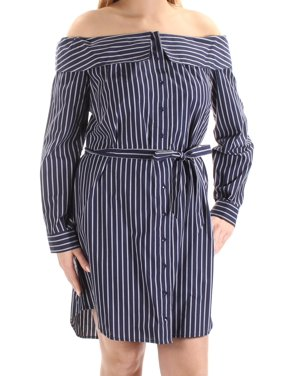 KENSIE Womens Navy Belted Striped Cuffed Off Shoulder Above The Knee Shirt Dress Dress  Size: M