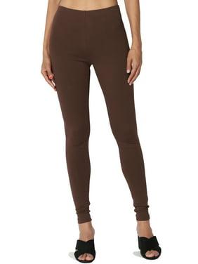 TheMogan Women's S~3X Cotton Jersey High Waist Long Full Length Ankle Leggings