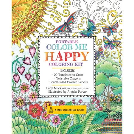 Zen Coloring Book: Portable Color Me Happy Coloring Kit: Includes Book, Colored Pencils and Twistable Crayons (Other) (Happy Halloween Coloring Pages Spongebob)