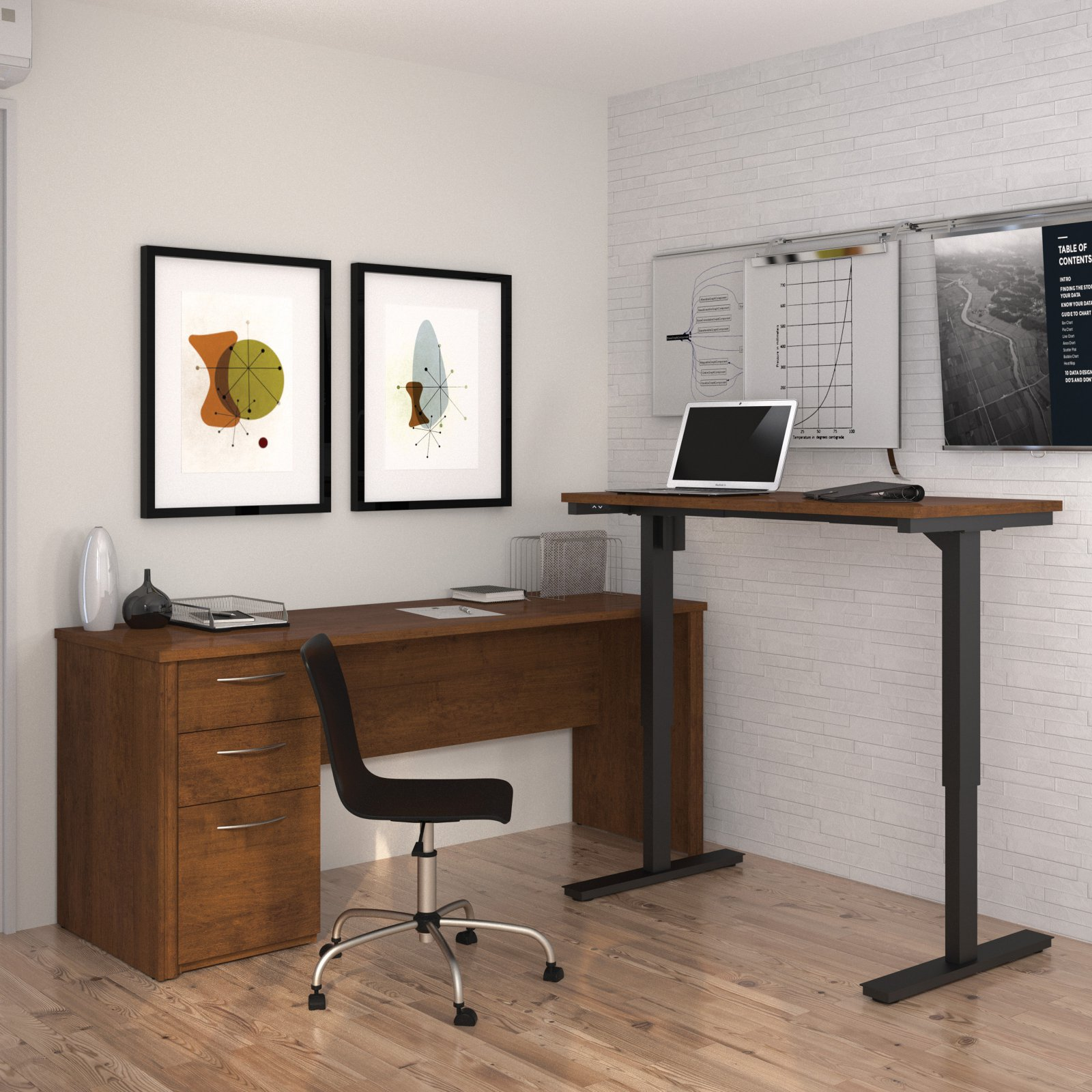 Embassy L-Desk including Electric Height Adjustable Table in Tuscany Brown