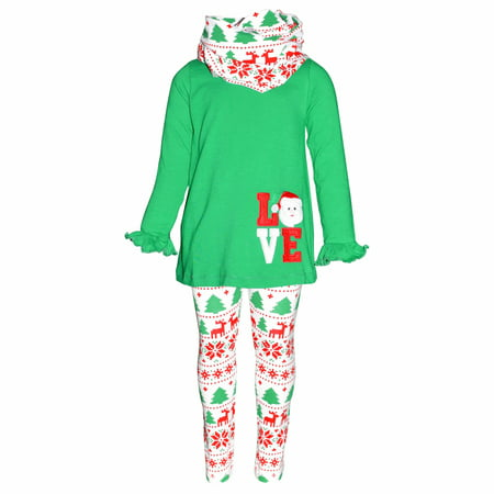 Childrens Santa Outfits (Girls 3 Piece Christmas Santa Love Embroidery Outfit)