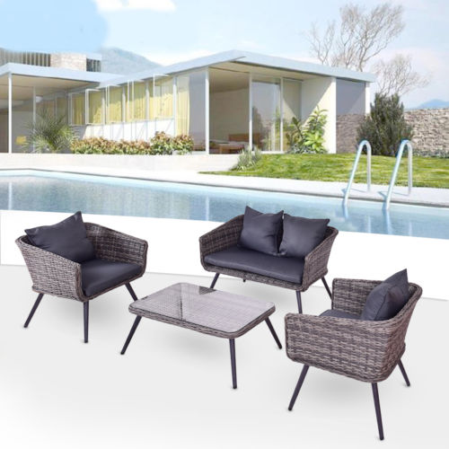 Goplus 4 PCS Grey Rattan Wicker Furniture Set Loveseat Sofa Cushioned Garden Deck