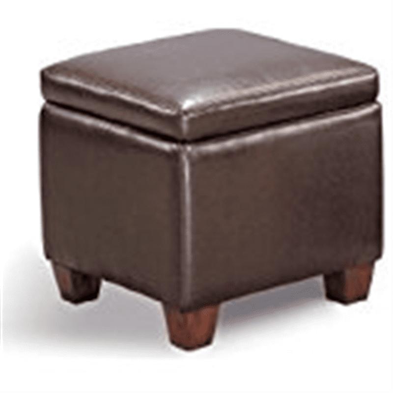 Dark Brown Modern Cube Vinyl Storage Footstool   Ottoman with Wood Legs by