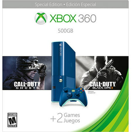 Image of Xbox 360 500GB Special Edition Blue Console Bundle with Call of Duty Ghosts and Call of Duty Black Ops 2 - Walmart Exclusive