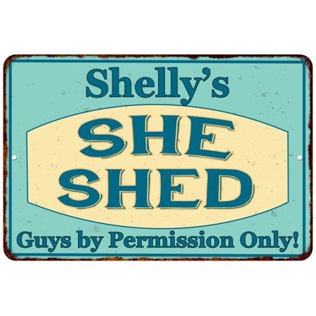 Shelly's SHE SHED Personalized Metal Sign Wall Decor Gift 8x12 208120039297 ()