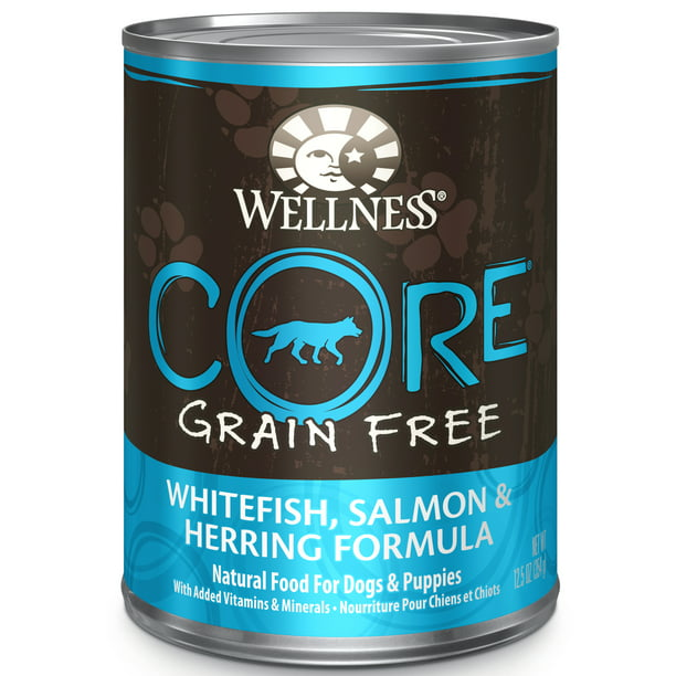 Wellness CORE Natural Wet Grain Free Canned Dog Food, Whitefish, Salmon & Herring, 12.5-Ounce Can (Pack of 12)