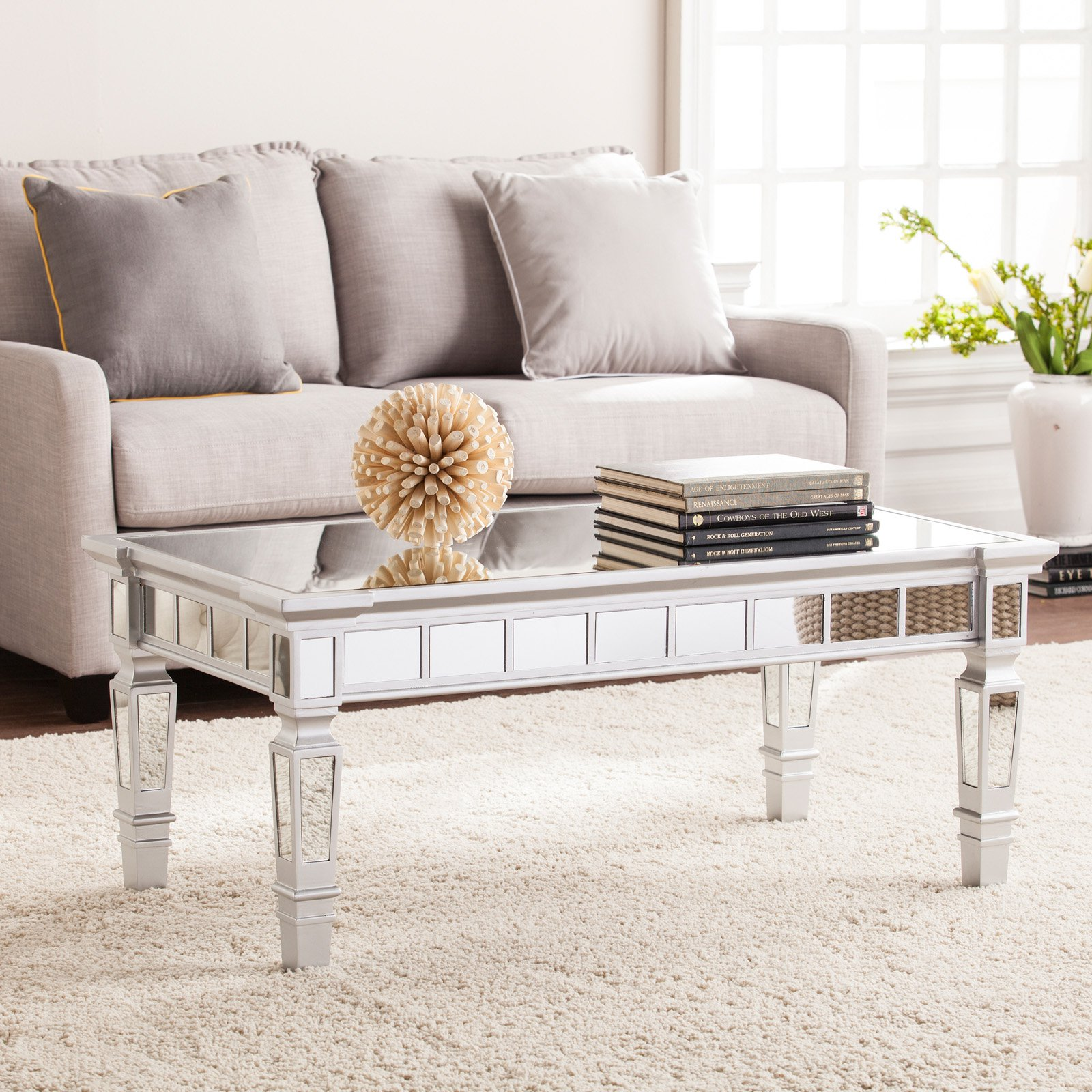 Southern Enterprises Glenview Glam Mirrored Rectangular Cocktail Table - Matte Silver