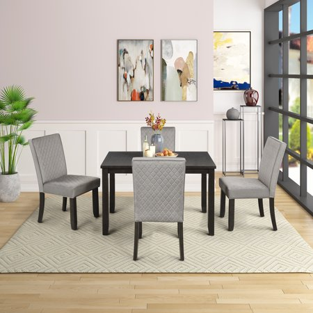 Upholstered Dining Table Sets for 4 Persons, 5 Piece Wood Rectangular Breakfast Table with 4 Piece Upholstered Elegant Dining Chairs, Dining Table and Chairs w/ Wooden Legs & Black Finish Frame, S459 Elegant Black Finish