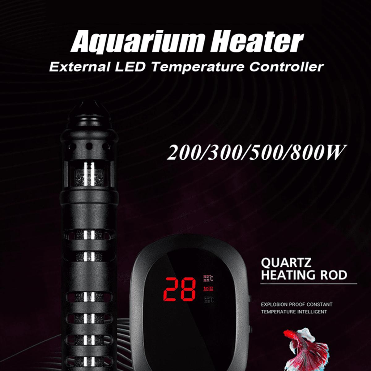 200-800W Aquarium LED Heater Fish Tank Water Submersible Adjustable Thermostat